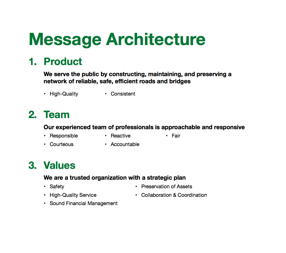 Kent County Road Commission's Message Architecture