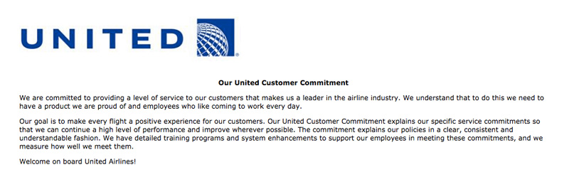 United Airlines Customer Commitment